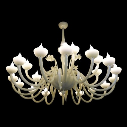 CHANDELIER FLOWERS IVORY 24 LIGHTS